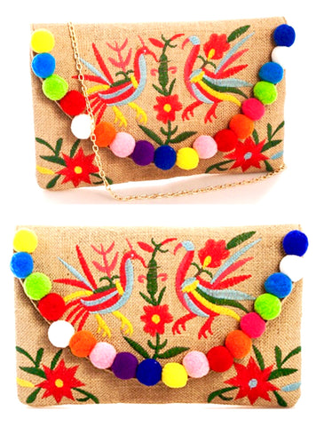 Embroidered Burlap Mexican Birds Pom Pom Bag with Detachable Gold Chain