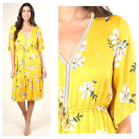 Lemon Yellow Floral Print Tie Waist Ruffle Hem Silky Midi Dress with Lattice Detail