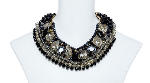 Black Multi Color Beaded Crystal Collar Necklace