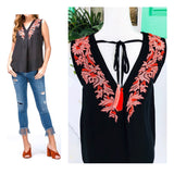 Black Sleeveless High Low Pink & Coral Embroidered Top with Tassel Tie Back