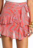 Red White Stripe Frill Skirt with Back Zip and Front Tie
