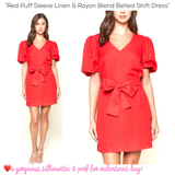 Red Puff Sleeve Linen & Rayon Blend Belted Shift Dress