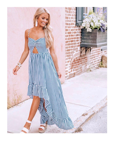 Black White Gingham Spaghetti Strap Maxi with High Low Ruffle Hem