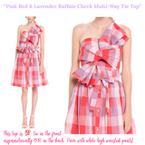 Pink Red & Lavender Buffalo Check Multi-Way Tie Top