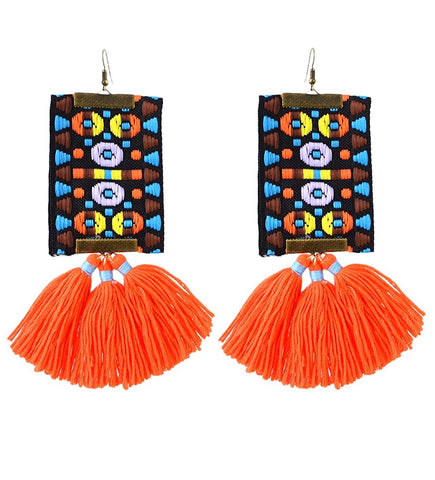 Orange Embroidered Tassel Earrings