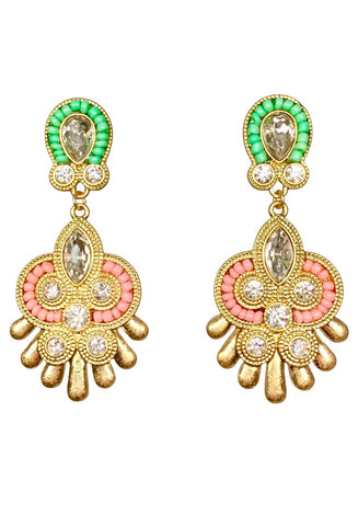 Ethnic Design Jade Green and Corral Gold Chandelier Earrings