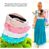Multicolor Pearl Accented Waffle Fabric Headbands