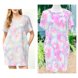 Light Blue Pink & Yellow Tie Dye Knit Dress with POCKETS
