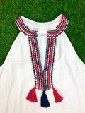 Off White V-Neck Halter Dress with Navy & Red Embroidery + Tassels