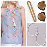 Blue White Stripe Embroidered Tank Top with Tassel Tie