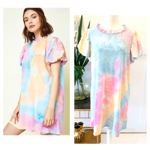 Pink Blue & Sherbet Tye Dye Puff Sleeve Dress with Shirred Ruffle Neckline