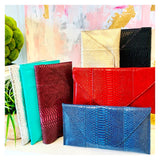 Multicolor Faux CROCODILE Textured Oversized Envelope Clutches