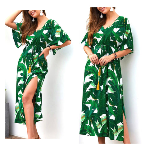 Green & White Palm Leaf Kaftan Maxi Dress with Marigold Tassel Tie Waist