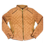 Quilted A-Line Jacket with Contrast Piping & Gold Exposed Zippers