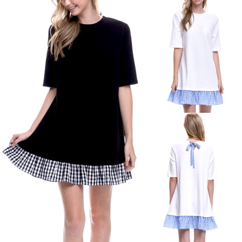White OR Black Short Sleeve Knit Dress with Gingham Ruffle Hem & Gingham Back Tie