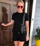 Black Short Sleeve Knit Top with Black & White Vertical Ribbon Bow Trim