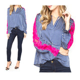 Sapphire Blue Stripe Silky Blouse with Electric Pink Lace Sleeve Contrast