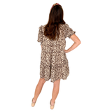 Brown Leopard Print Smocked Puff Sleeve Dress with BOW BACK