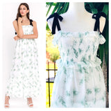 White & Mint Green Floral Maxi with Black Shoulder Ties & Smocked Ruffle Bust
