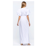 White Puff Sleeve Tie Front Maxi Dress