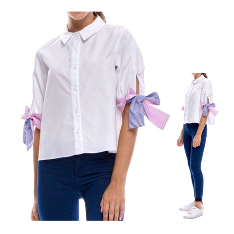 White Button Down 3/4 Sleeve Shirt with Pink & Blue Seersucker Sleeve Ties