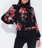 Floral High Neck Top with Keyhole Back, Black
