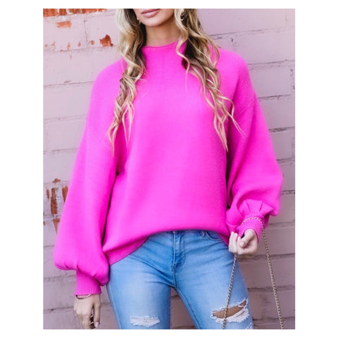 Electric Pink Puff Sleeve Mock Neck Sweater