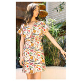 Cream & Multicolor Abstract Print Faux Wrap Dress with Elastic Waist & Ruffle Sleeves