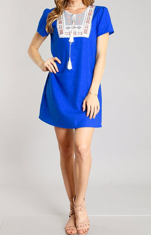Royal Blue Linen Embroidered Shift Dress with Tassel Tie