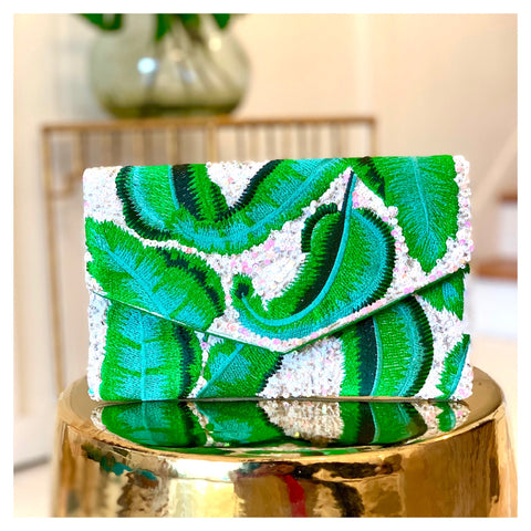 HANDMADE Sequin EMBROIDERED Mint & Kelly Green Contrast Banana Leaf Clutch with Optional Chain & Green Piping