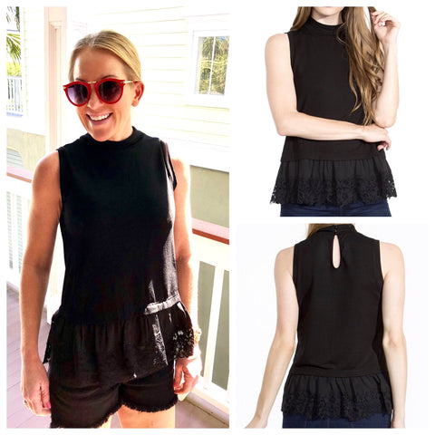 Black Sleeveless High Neck Peplum Top with Contrast Eyelet Hem