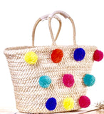 Pom Pom Beach Tote with Top Tie Closure