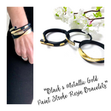 Black & Metallic Gold Paint Stroke Resin Bracelets