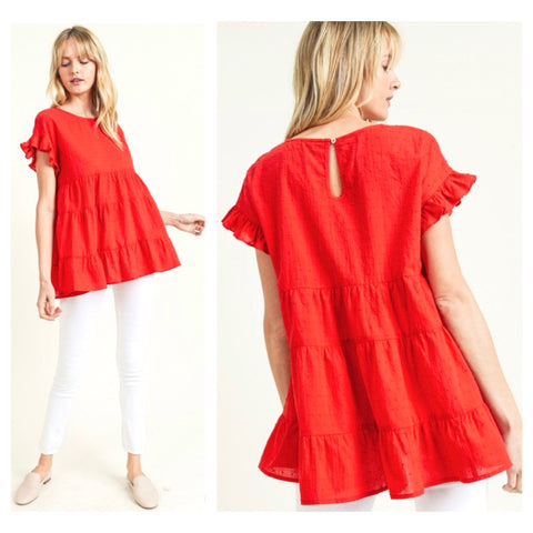 Poppy Red Flutter Sleeve Swiss Dot Top with Ruffle Hem & Keyhole Back