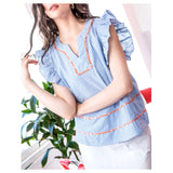 Blue Stripe Flutter Sleeve Top with Orange Embroidered Trim