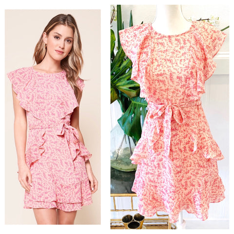 Pink on Pink Woven Floral A-Line Dress with Cascading Ruffles & Belt Sash
