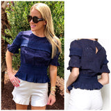 Navy Eyelet Top with Smocked Waist & Bust & Keyhole Back