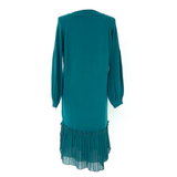 Jewel Tone Teal Knit Sweater Dress with Pleated Chiffon Hem Contrast