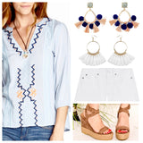 Navy and Corral Stone Teardrop Tassel Ball Drop Earrings
