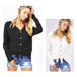 Thermal Knit Button Down Tie Waist Top