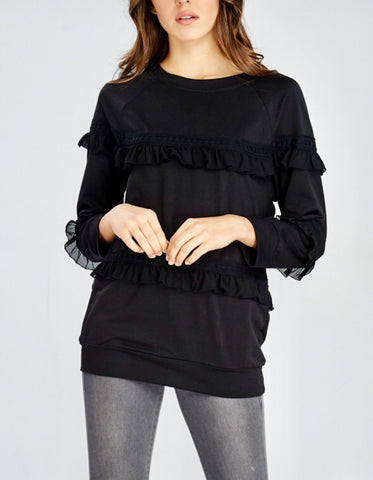 Black Lightweight Triple Frill Hem Sweater