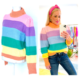 Pastel Rainbow Knit Puff Sleeve Sweater with Shirred Shoulder