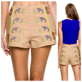 Embroidered Taupe Burlap Shorts (Matching Top Sold Separately)