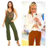 Brick OR Olive Wide Leg Cropped Semi High Waisted Jeans