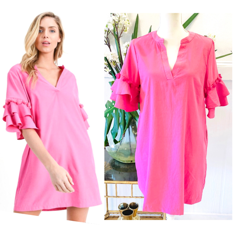 Bubblegum Pink Ruffled Bell Sleeve Textured Shift Dress with Tassel Trim