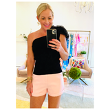 Blush Pink, White OR Navy High Waisted Cuffed Dressy Shorts