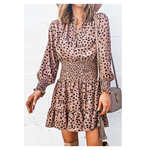 Mocha & Black Dots Smocked Waist Ruffle Hem Dress