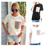 Black OR White Tee with Metallic Tweed & Pearl Patch Pocket