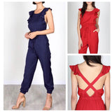 Navy OR Garnet Red Flutter Sleeve Jogger Jumpsuit with Open Back