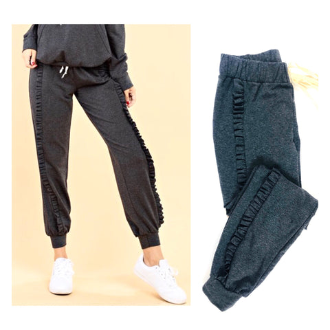 Charcoal French Terry Ruffle Joggers